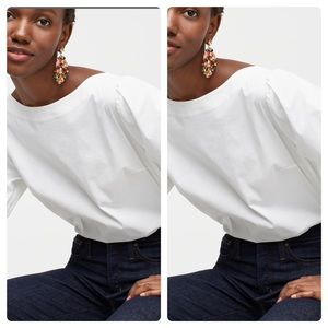 New J Crew Boat Neck Puffed Sleeve Top Green S